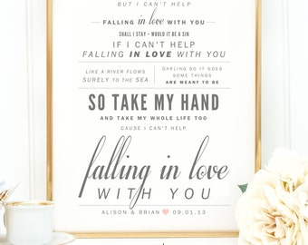 Elvis song lyrics etsy ingrid michaelson elvis presley cant help falling in love valentines stopboris Gallery