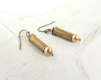 BULLET EARRINGS - brass bullets - pearl bullet earrings - bullet jewelry - Glammunition - eco-friendly/upcycled jewelry - under 20