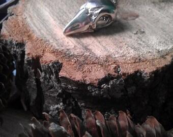 Sterling silver bird skull pendant