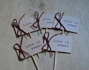 Love is sweet, Wedding cupcake topper, Rustic wedding cupcake tags, dessert tag, toothpick cupcake topper, rustic cupcake