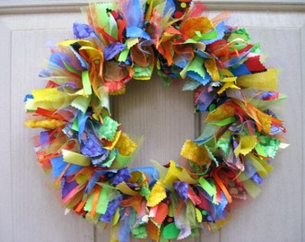 Summer Wreaths, Summer Fabric Ribbon Wreath, Rag Wreath, Red Yellow Green Blue Summer Front Door Wreath, Party Decoration, Mod Wreath
