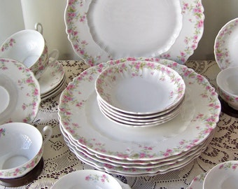 Antique Dinnerware Carl Tielsch Place Setting for Six Pink Rose Pattern Altwasser Germany Porcelain Dinnerware Late 1800s