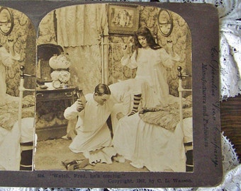 Antique Stereoview Card 3D Card Victorian Daily Life Stereograph Card Stereoscope Card 1901 Wedding Card