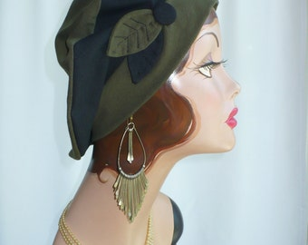 Olive and Black Cotton Jersey Beret, Chemo Hat