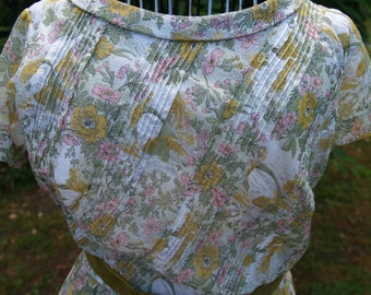 Markdown - R & K Original Lightweight Cotton Green Pink and Yellow floral print