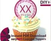 DIY It's a Girl Cupcake Toppers Digital Download