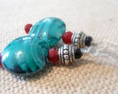 Teal Swirl Glass Lampwork Bead Earrings, Tribal Silver-Plated Beads, Dangle Earrings, Turquoise Colored Earrings, Gift For Her, OOAK