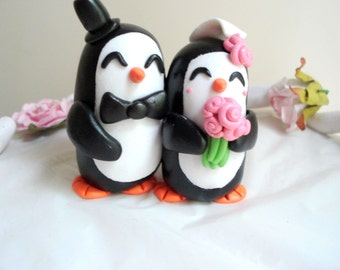 Penguin Wedding Cake Topper Penguin Cake Topper Wedding Cake Black and White Wedding Decoration Penguin Wedding