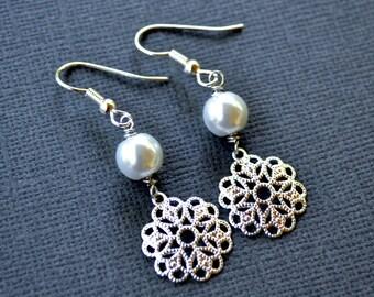 Silver Filigree Flowers . White Pearls . Earrings