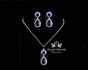 Sapphire Wedding Jewelry,Blue Jewelry Set,Sapphire earrings,sapphire necklace,blue jewelry,something blue,gifts for women,navy wedding