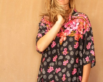 90s TWIN PEAKS floral GRUNGE short sleeve shirt