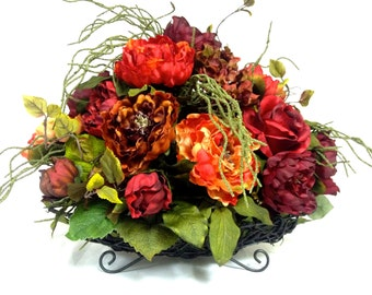 "Tuscan Fall Silk Floral Arrangement Red Orange Burgundy Hydrangea Peony Mix 24"" Long 18"" Tall XLARGE"
