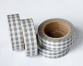 25% OFF SALE - 1 Roll of Gray and White Gingham Plaid Checkered Washi Tape / Decorative Masking Tape (.60 inches wide x 33 feet long)