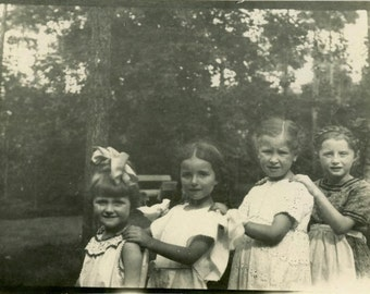 "Vintage Photo ""Childhood Friends"" Children Little Girl Snapshot Old Photo Antique Black & White Photograph Vernacular Paper Ephemera - 039"