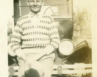"Vintage Photo ""Teenage Driver"" Teen Boy Classic Car Snapshot Photo Antique Photo Black & White Photograph Found Photo Paper Ephemera - 50"