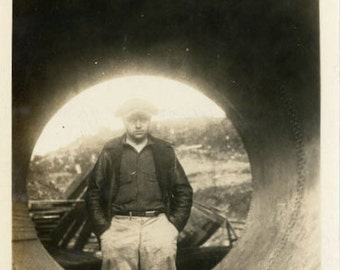"Vintage Photo ""Industrial Vortex"" Work Snapshot Photo Old Antique Photo Black & White Photograph Found Photo Paper Ephemera Vernacular - 122"