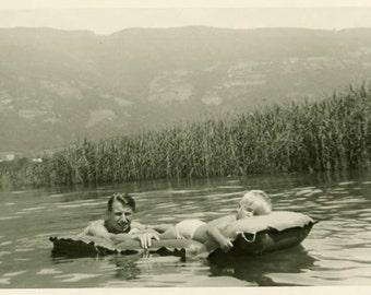 "Vintage Photo ""Lake Sleeper"" Beach Swimming Sleeping Boy Men Snapshot Photo Old Antique Black & White Photograph Found Paper Ephemera - 104"