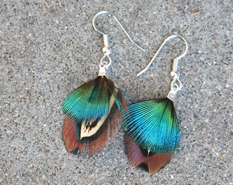 Bright Blue Feather Dangle Earrings
