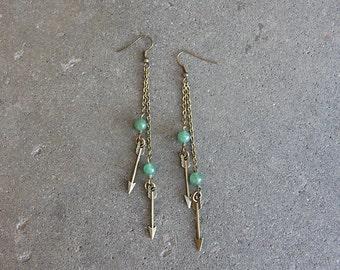Flying Arrow Brass Earrings