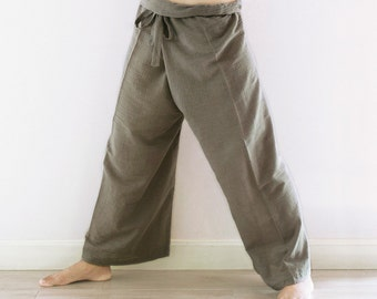 Unisex Freesize Fisherman Cotton Pants in Gray