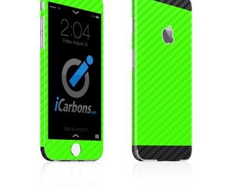 iCarbons 2 Tone Green / Black Carbon Fiber iPhone 6 / 6 Plus / 6S / 6S Plus Skin Decal FULL COMBO