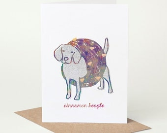 Beagle Card - Cinnamon Beagle (dog birthday card, funny dog card, cute dog card, blank dog card, foodie card, summer dog card, bagel card)