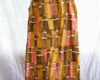 vintage shift dress, sleveless brown, tan and pink abstract pattern, lightweight material