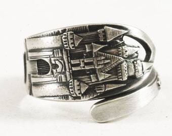 Disneyland Ring, Disney Ring, Sterling Silver Spoon Ring, Disneyland Castle, Sleeping Beauty Castle, Disneyland Jewelry Adjustable Ring 6727