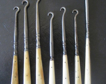 19th Century French Boot Hooks Corset Button Hooks Glove Button Hooks in Bone & Forged Steel Collection of 7