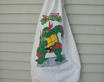 Vintage TMNT Raphael Cotton Laundry Bag / Overnight Bag / Kids Bag / Tote Bag