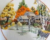 Water Mill Autumn Crewel Wall Art
