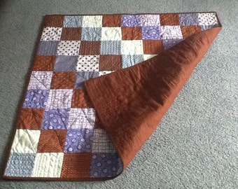 Blue  and Brown Baby Quilt