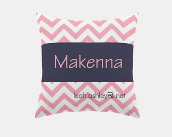 Square Name Pillow Cover - Pink Chevron, Solid Navy - Elizabeth