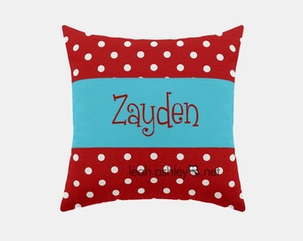 Square Name Pillow Cover - Red Polka Dot, Solid Turquoise - Peyton