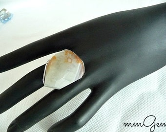 Agate ring, big ring, big agate ring, agate cabochon, ring, white orange ring, gemstone ring, boho ring, knuckle ring, statement ring, ring,