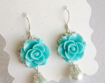 Turquoise earrings flower Earrings blue rose Earrings Bridesmaid Gift for her Victorian style beach wedding jewelry Thank you Card