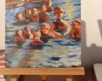Small Stories: In the Pool, Original oil painting