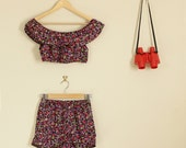 Pink Purple Floral Twin Set Shorts and Matching Crop Summer Co Ord Party Lolita Matching Set