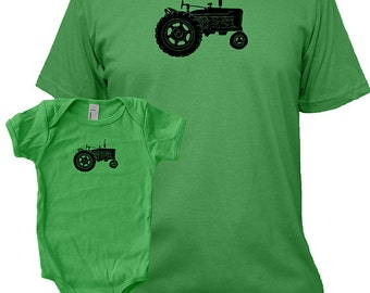 Matching Father Baby Shirts, Tractor Farm T shirts, Christmas present idea, new dad shirt, father daughter, gift for dad from baby, son set
