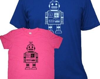 Matching Father Daughter Shirts, Robot T shirts, Father's Day gift, dad shirt, father son, gift for dad, gift for dad from daughter, kids