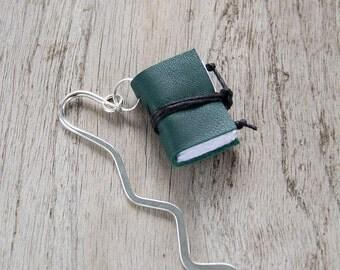 Miniature book bookmark, leather bookmark, mini book charm, gadget book mark, book jewelry for teacher, librarian, book lover, reader