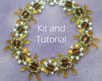 Double Decker Daisy Kit and Tutorial (modified daisy chain bracelet using SuperDuos/twins, daggers/Pips, and seed beads)