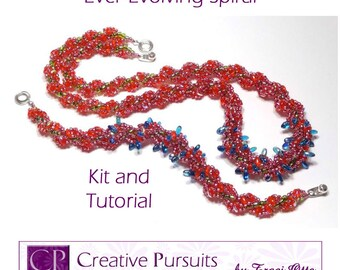 Ever-Evolving Spiral Kit and Tutorial (spiral rope bracelet and necklace using SuperDuos, Rizos, and seed beads)