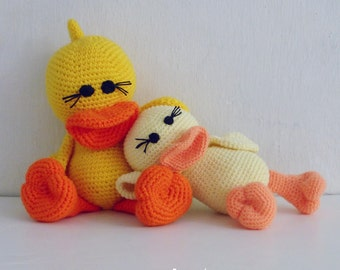 Crochet Amigurumi Pattern Duck PDF - Duck and Ducky amigurumi Toy crochet pattern - Instant DOWNLOAD
