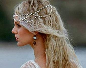 Boho Chic Headpiece Hair Jewelry Head Jewellery Hair Accessories Head Chain Headpiece Pearl Headpiece Boho Wedding  Pearl Luster Mrk11  Gold