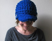Brain Bean - Bold Blue crochet cap with brim and two white buttons, unisex