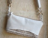 White Crossbody Small Purse in Leather and Beige Handweave - Made to Order.