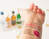 Bachelorette Temporary Tattoos,  If Lost, Buy Me a Drink, Kiss Lips, Pack of Personalized Tattoos including Matching Bride Tattoo