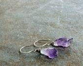 Boho raw amethyst crystal point earrings in sterling silver
