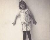Knock-Kneed- 1910s Antique Photograph- Edwardian Girl- Real Photo Postcard- Old RPPC- Cute Child- Studio Portrait- Paper Ephemera
